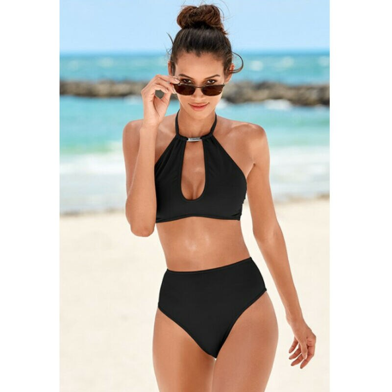 Womens Halter Neck Monokini Two Piece Bikini Padded Swimsuit Hollow Out Swimwear