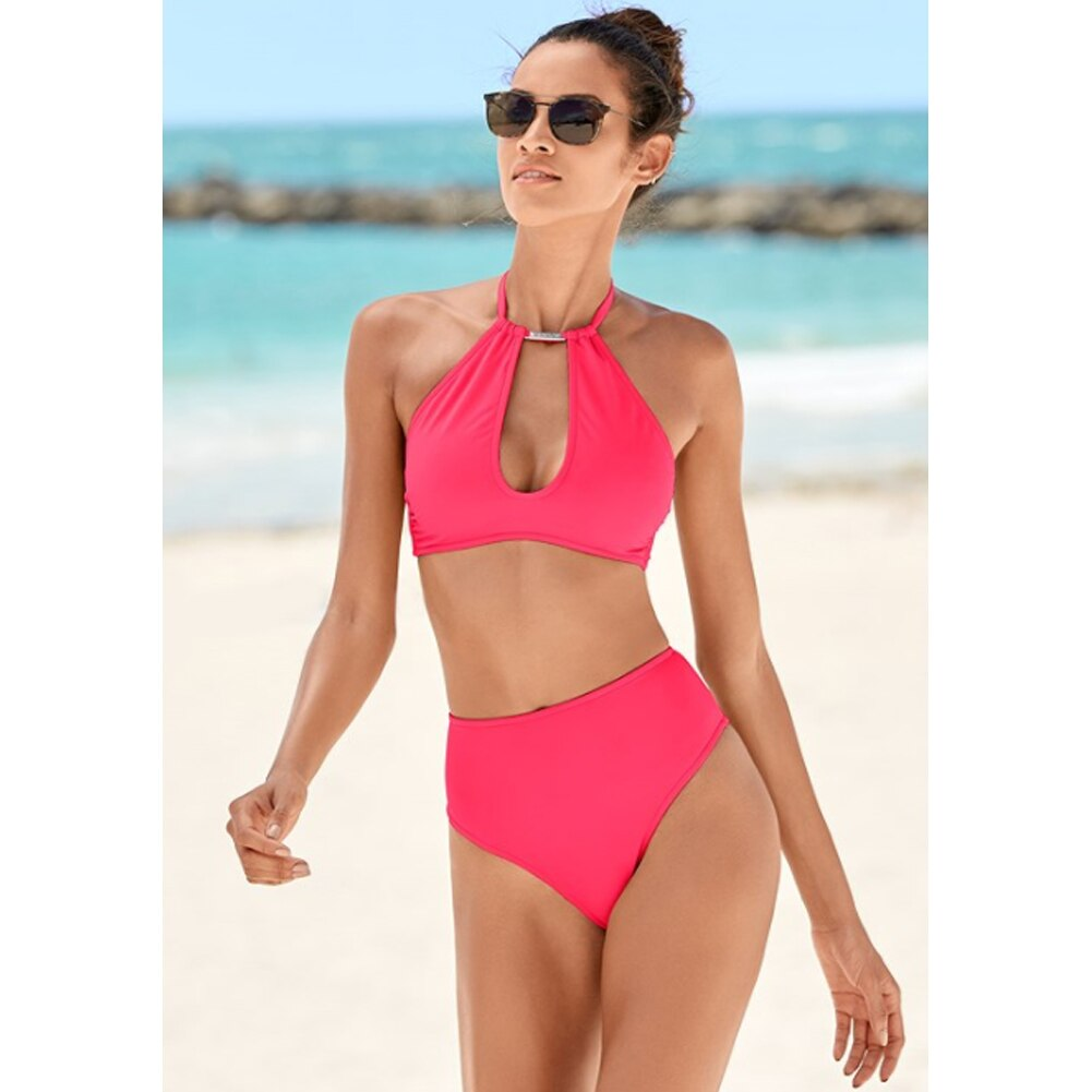 The Best Womens Halter Neck Monokini Two Piece Bikini Padded Swimsuit Hollow Out Swimwear Online - Source Silk