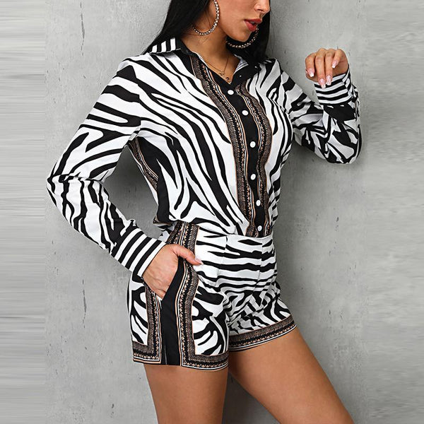 The Best Zebra print 2 piece set Women long sleeve buttoned tops shirt and shorts suits Sumemr short sets tracksuits Two piece set Online - Hplify