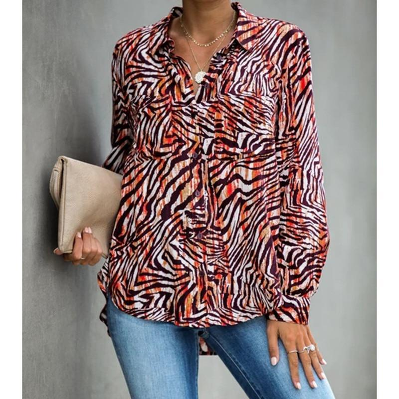 Zebra print turn down collar womens tops and blouses Elegant ladies button casual blouse shirt Summer 2019 Tops Autumn Blusas