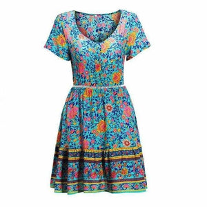 A-Line Bohemian Floral Dress Sexy V-neck Short Sleeve Mini Dress - Blue / M - Womens Dresses