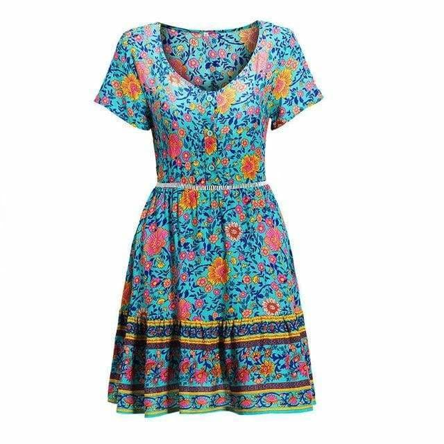 The Best A-Line Bohemian Floral Dress Sexy V-neck Short Sleeve Mini Dress Online - Source Silk