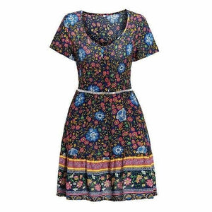 A-Line Bohemian Floral Dress Sexy V-neck Short Sleeve Mini Dress - Navy Blue / M - Womens Dresses