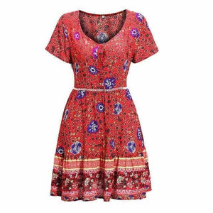 A-Line Bohemian Floral Dress Sexy V-neck Short Sleeve Mini Dress - Red / M - Womens Dresses