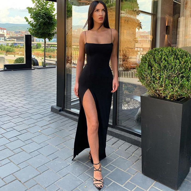 Macheda Autumn Women Spaghetti Strap Dress Autumn Sexy Split Solid Slim Lady Ankle Length Vintage Wear Dress 2019 New