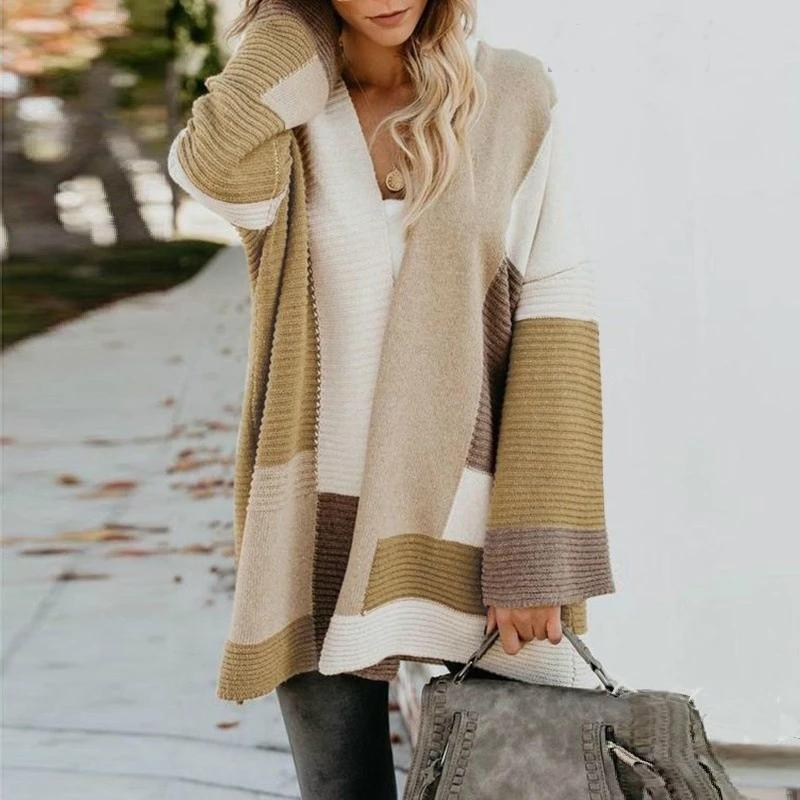 The Best Fashion Casual Loose Color Block Cardigan Online - Hplify