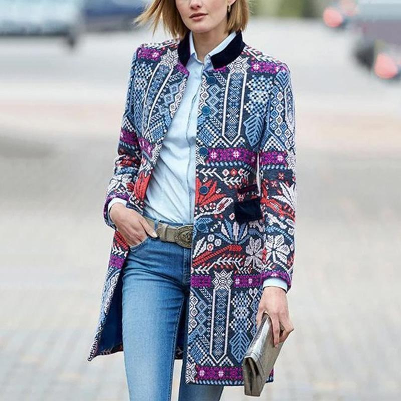 The Best Fashion Elegant Slim Floral Long Sleeve Suit Cardigan Online - Hplify