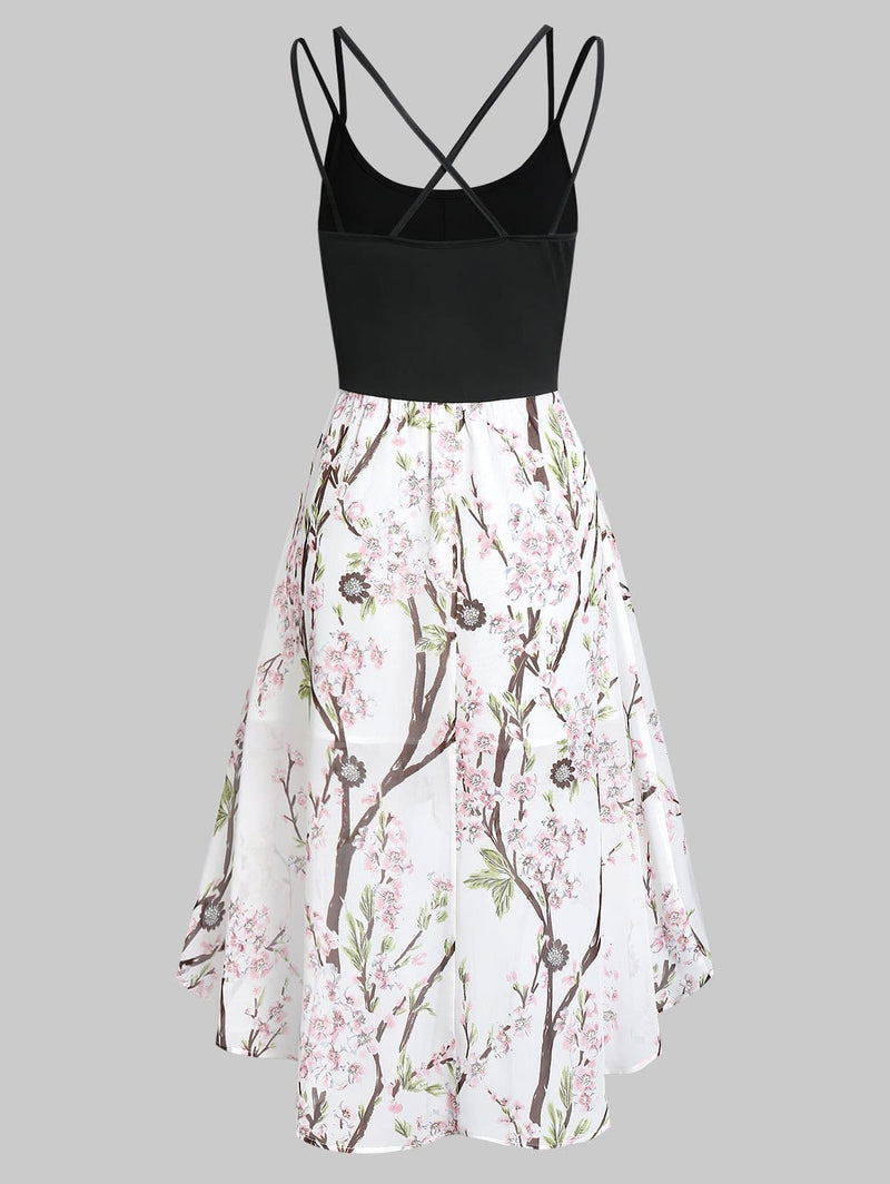 The Best Asymmetric Floral Cross Back Cami Dress Spaghetti Strap Boho Dress Online - Source Silk