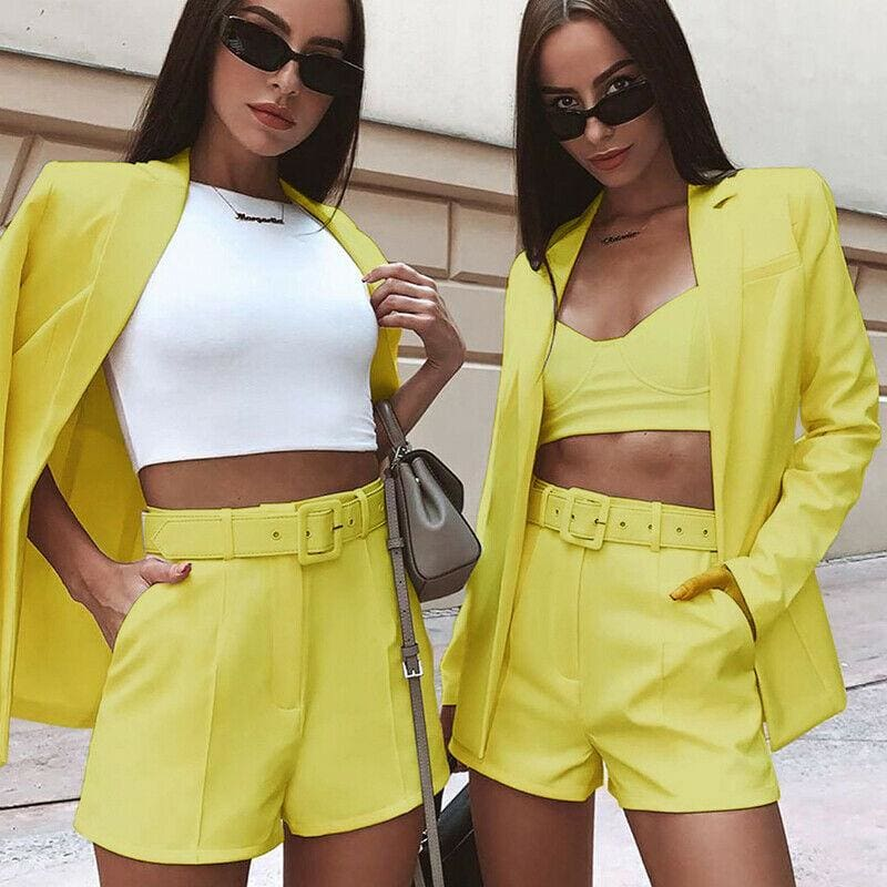 The Best Autumn Elegant British-Style Small Suit Jacket Shorts Suit Women OL Lady Fashion Casual Workout Formal Suit Online - Hplify