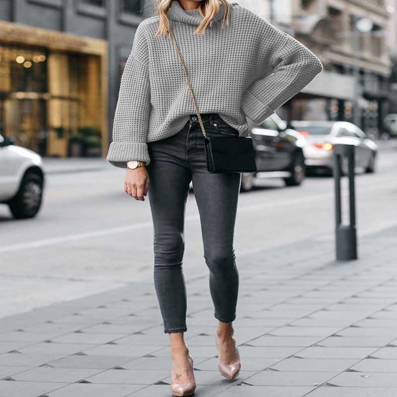 The Best Autumn Knitted Sweater Women Long Loose Sleeve Sweaters Oversize Online - Hplify