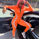 Buy Cheap Autumn Sports Tracksuits Women Striped Reflective Jumpsuits Girl Long Sleeve Zip Jumpsuit Casual Skinny Playsuit Plus Size Online - Hplify