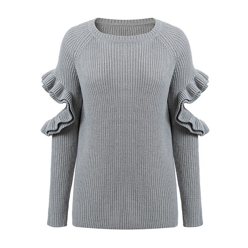 The Best Autumn Winter Ruffle Sweater Women Hollow Out Long Sleeve Warm Jumper Online - Source Silk