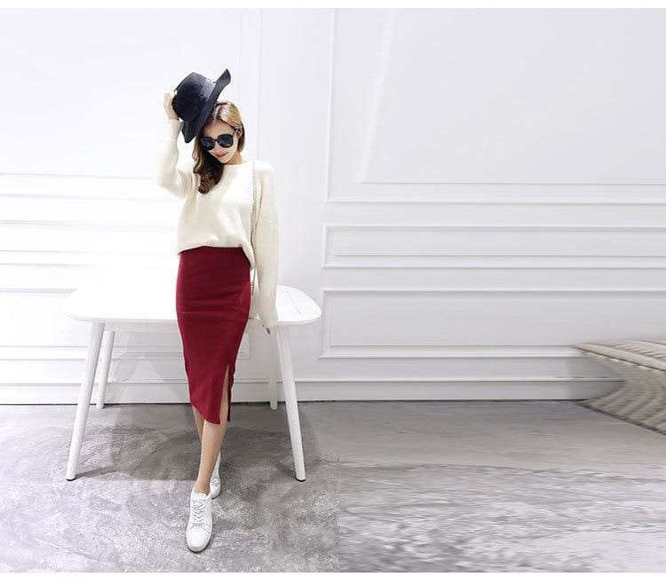 Buy Cheap Autumn Winter Slit Pencil Skirts High Waist Thick Warm Knitted Skirts Online - Hplify