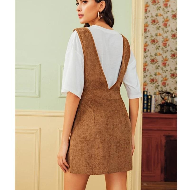 The Best Autumn Winter Women Double Pocket Corduroy Suspender Skirt Ladies Casual Frill Ruffle Elastic High Waist Skirt Online - Hplify