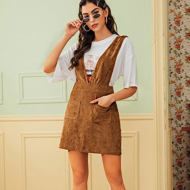 The Best Autumn Winter Women Double Pocket Corduroy Suspender Skirt Ladies Casual Frill Ruffle Elastic High Waist Skirt Online - Source Silk