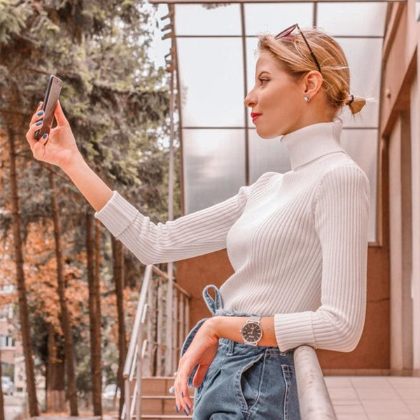 The Best Autumn winter Women Knitted Turtleneck Sweater Soft Elasticity Pullovers Online - Hplify
