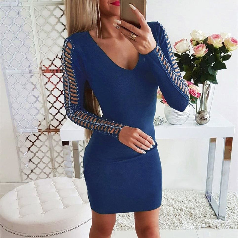 The Best Autumn Winter Women Sexy Hollow Out Jumper Dress Long Sleeve Sexy Ladies V-Neck Bodycon Slim Mini Dress Clubwear Online - Hplify