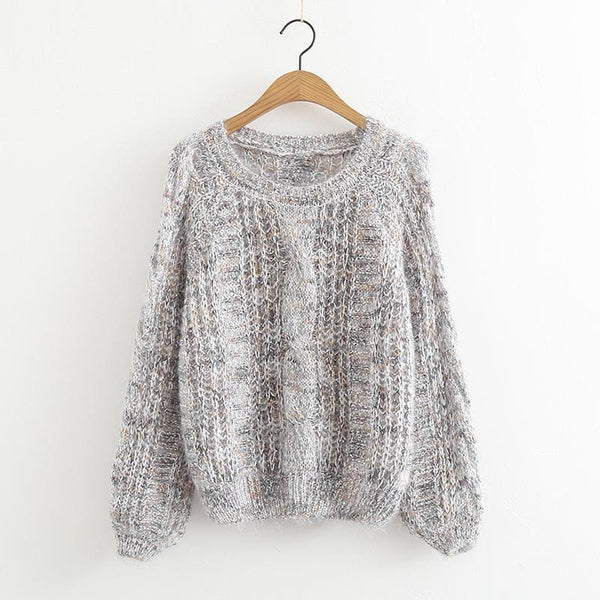 The Best Autumn Winter Women's Knitted Sweater Puff Sleeve Mohair Short Sweaters Online - Hplify