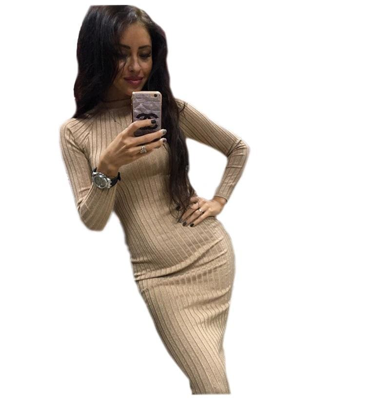 The Best Autumn Women Bodycon Sheath Dress Knitted Cotton Long Sleeve Dresses Online - Hplify