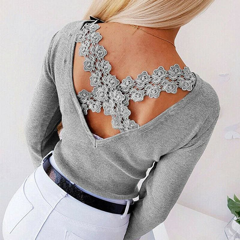 The Best Autumn Women Casual Blouse Ladies Backless Lace Cross Long Sleeve Knitting Slim Tops Loose Round Neck Shirt Online - Hplify
