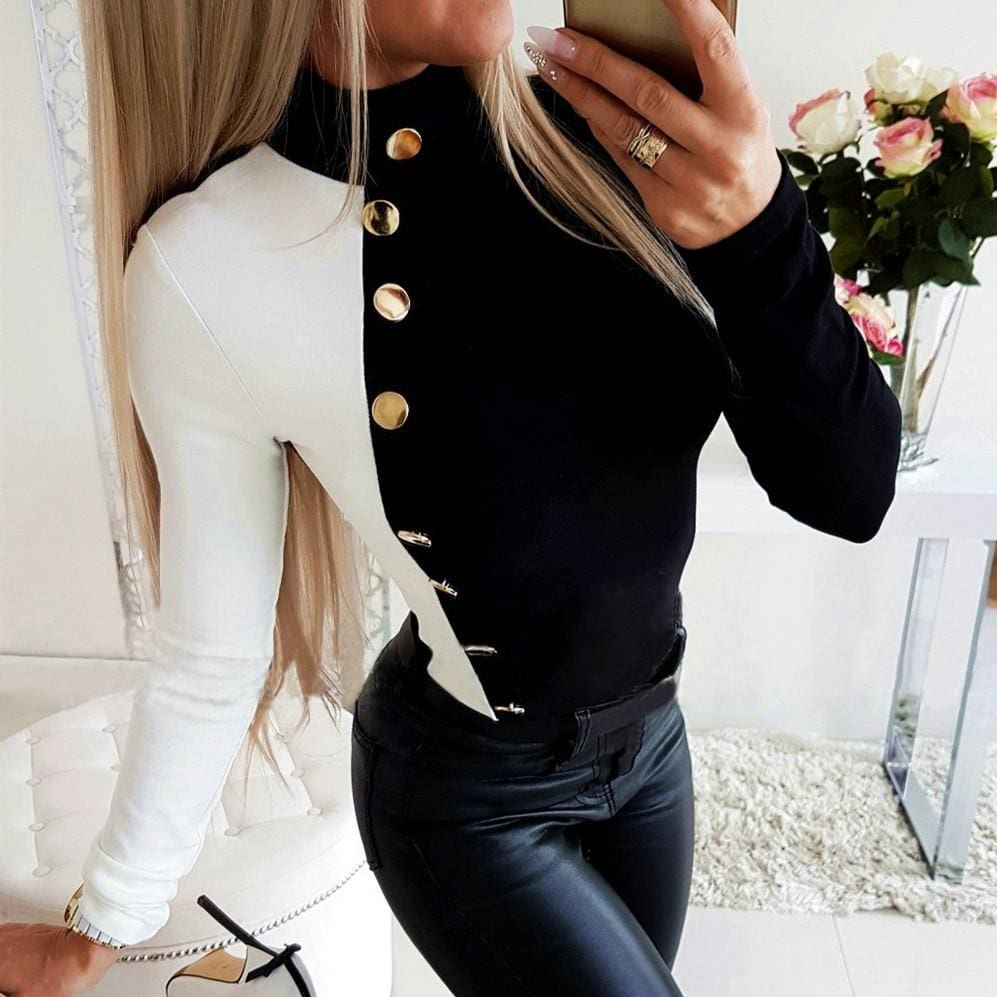 The Best Autumn Women High Collar Slim Fit Long Sleeve Tops Fashion Ladies Casual Blouse Buttons Top Shirt Outwear New Online - Source Silk