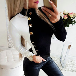 The Best Autumn Women High Collar Slim Fit Long Sleeve Tops Fashion Ladies Casual Blouse Buttons Top Shirt Outwear New Online - Hplify