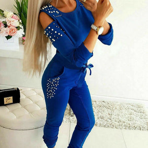 Autumn Women Jogger Casual Running Tracksuit Sweatshirt Tops + Pants 2Pcs Sets Sport Wear Loungewear 2019 New - Blue / S - Womens Clothing