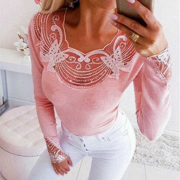The Best Autumn Women Lace Sequins Blouse Fashion Butterfly Beaded V Neck Tee Shirt Casual Long Sleeve Slim Fit Tops Online - Hplify