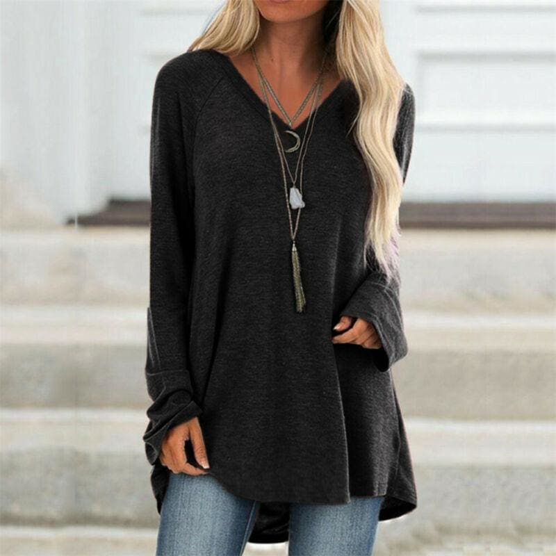 The Best Autumn Women Ladies Tee Shirt Loose Blouse V-neck Shirt Long Sleeve Casual Jumper Pullover Tops Plus Size L-5XL Online - Source Silk