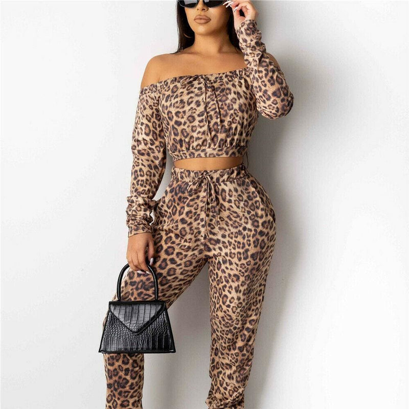 The Best Autumn Women Leopard Tracksuit Casual Off Shoulder Long Sleeve CropTops and Long Pants Fitness Outfit Sportwear Online - Hplify