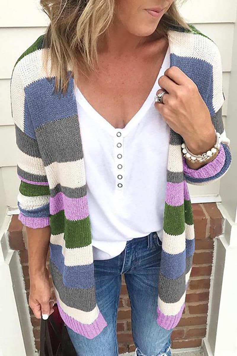The Best Autumn Women's Color Block Striped Loose Long Sleeve Knit Sweaters Coat Online - Source Silk