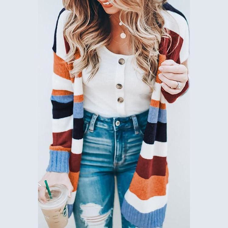 Buy Cheap Autumn Women's Color Block Striped Loose Long Sleeve Knit Sweaters Coat Online - Hplify