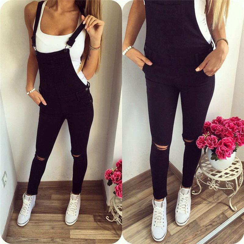The Best Autumn Women's Jumpsuit Baggy Bib Overall Skinny Hole Black Pants Stylish Ladies Slim Trouser Outwear Online - Hplify