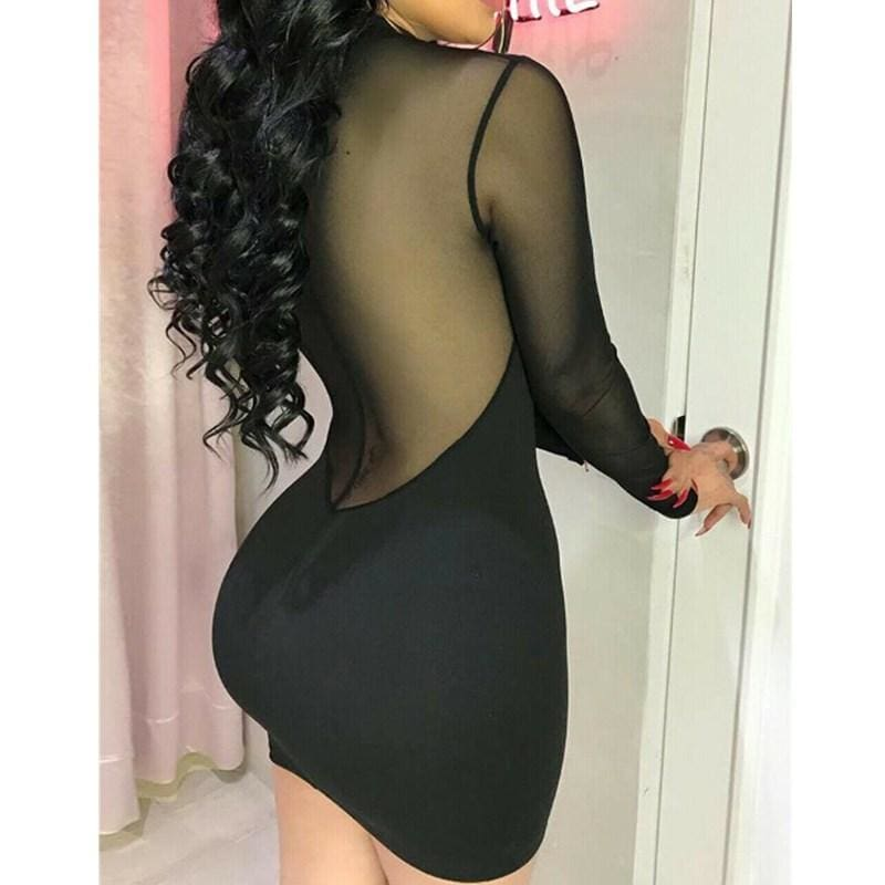 The Best Bandage Bodycon Applique Evening See through Party Mesh Spliced Short Mini Pencil Dress Summer Women Sexy Dress Online - Hplify