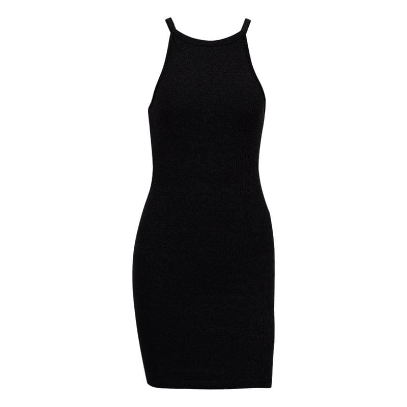 The Best Basic Dress Summer New Women Stretched Sleeveless Rib Knit Dress Online - Source Silk