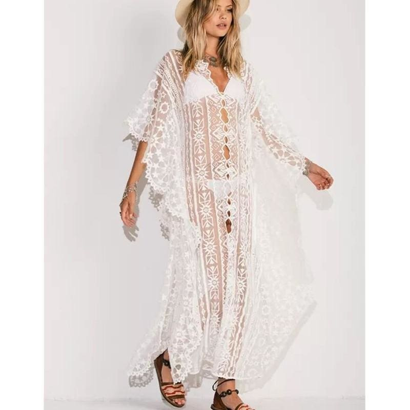 The Best Beach Chiffon Maxi Dress Women Swimwear Cover Up 2020 New All Lace Embroidery Sunscreen Bikini Cover Ups Bathing Suit Online - Hplify