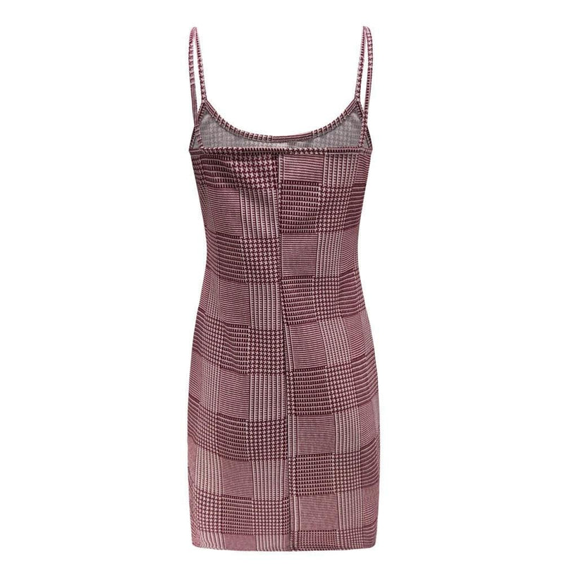 The Best Best Sale Plaid Spaghetti Strap Mini Bodycon Dress Women Wear Online - Hplify
