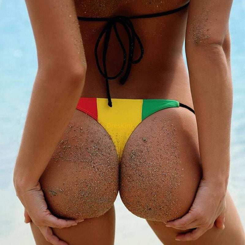 The Best Bikini 2019 Sexy Red Yellow Stripe Patchwork Boho Swim Wear Bathing Suit Women Swimsuit Beachwear Swimwear Female Bikini Online - Hplify