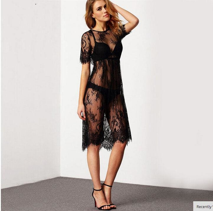 The Best Bikini Cover Up Lace Hollow Crochet Swimsuit Beach Dress Women 2019 Summer Ladies Cover-Ups Bathing Suit Beach Wear Tunic Online - Source Silk