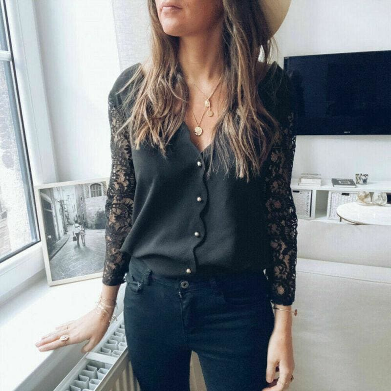 The Best Black lace Blouse Women Elegant Long Sleeve Sexy V Neck Shirts Tops Online - Source Silk