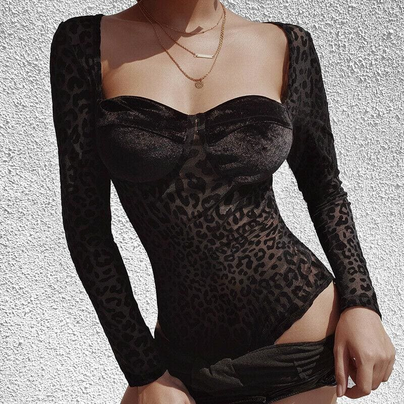 The Best Black Leopard Print Mesh See through Skinny Bra Shaped Long Sleeve Bodysuit Online - Source Silk