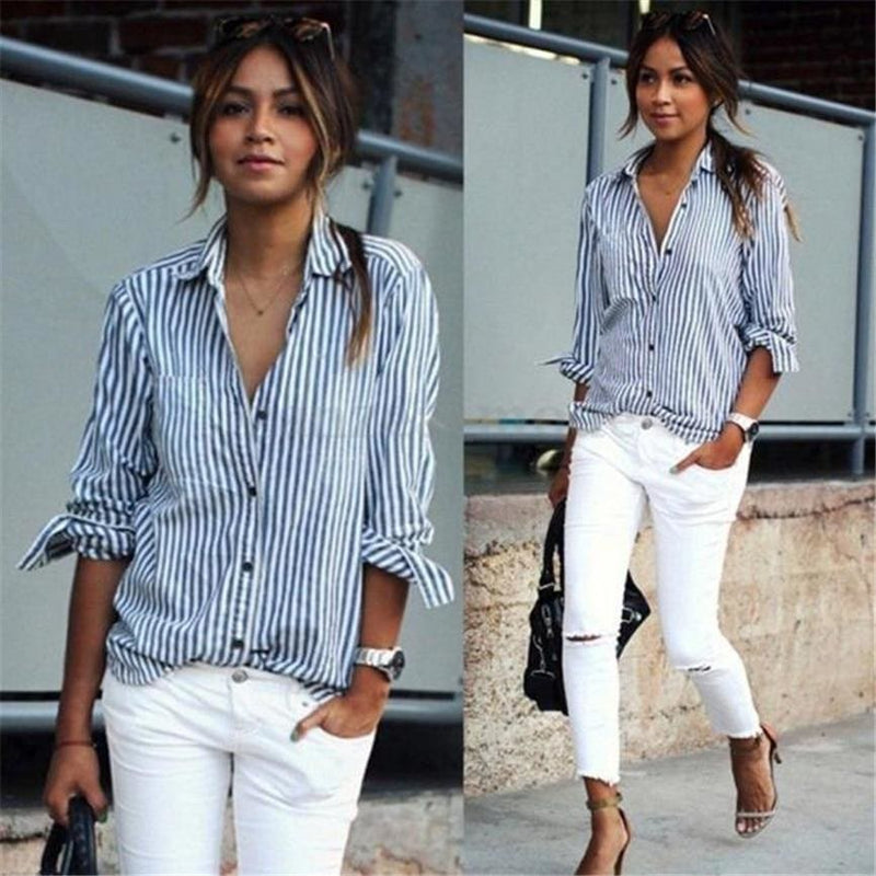 The Best Blouses 2019 Long Sleeve Striped Loose Blouse Casual Tops Buttons Shirt Online - Hplify