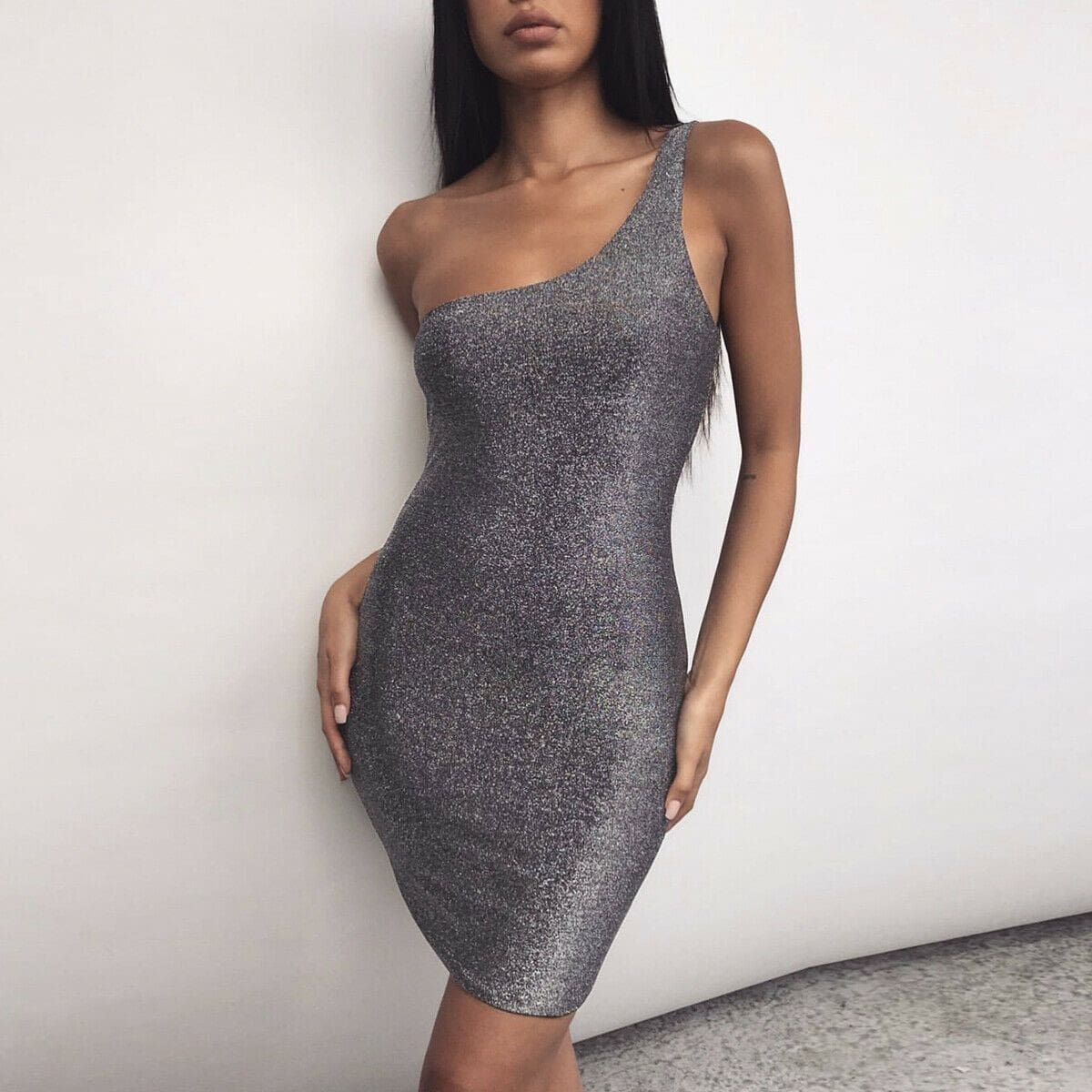 Bodycon Dress Women Sexy Shinny One Shoulder Sleeveless Short Mini Dresses Package Hip Slim Fit Ladies Casual Dress - Silver / S - Dresses