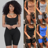 The Best Bodycon Jumpsuits Rompers Women Ladies Slim Playsuit Summer Fitness Workout Short Trousers Sleeveless Clubwear Short Pants Online - Source Silk