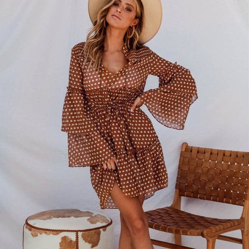 The Best Boho Beach Holiday Vacation Sundress Women Long Sleeve Polka Dot V Neck High waist Tunic Ladies Dresses Streetwear Online - Hplify