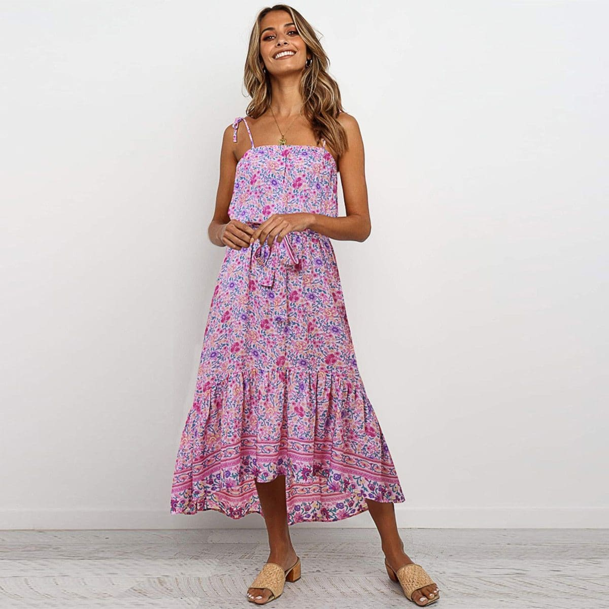 The Best Boho Floral Casual Long Maxi Dress Evening Party Cocktail Beach Holiday Sundress Online - Source Silk