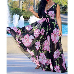 The Best Boho Floral Long Maxi Dress Ladies Casual V Neck Sleeveless Party Holiday Beach Sundress Online - Hplify