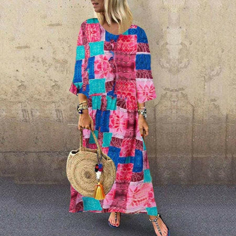 The Best Boho Floral Long Maxi Sundress Ladies O-neck Long Sleeve Holiday Kaftan Casual Beach Sundress Plus Size Online - Hplify