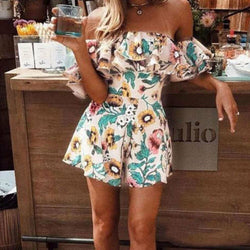 The Best Boho Floral Playsuit Women Summer Off Shoulder Ruffle Bodycon Jumpsuit Romper Beach Casual Shorts Party Trousers Online - Hplify
