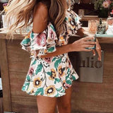The Best Boho Floral Playsuit Women Summer Off Shoulder Ruffle Bodycon Jumpsuit Romper Beach Casual Shorts Party Trousers Online - Source Silk